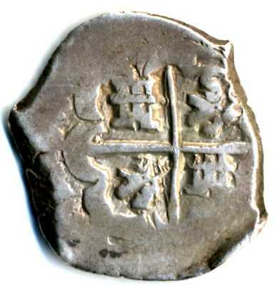 XS- Pirate Cob Spanish Colonial 1600's Silver 2 Reales POTOSI -P? -G?  6.8 gr