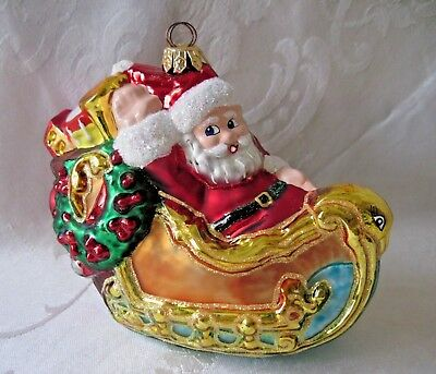 Christopher Radko 1929 Santa In Sleigh Christmas Ornament 1998 FAO Schwarz