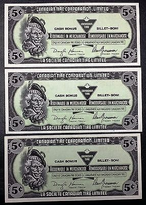 Collection of 3x 1989 Canadian Tire Money 5 Cents Notes - Unicrculated