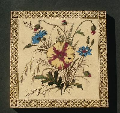 "VICTORIAN 6"" x 6"" GLAZED HANDPAINTED FLORAL TILE - LOT 1"