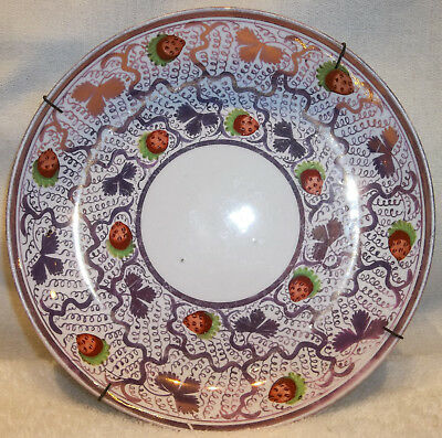 Antique Staffordshire Strawberry & Purple Luster Pearlware Plate Xlnt!