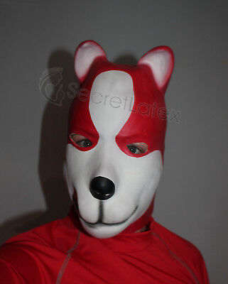 Latex Rubber Red White Fetish Dog Full Head Hood Puppy Doll Man Men Animal Mask