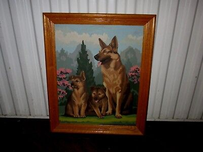"Vintage Framed Paint By Numbers German Shepherd Dog With Puppies--23"" X 19"""