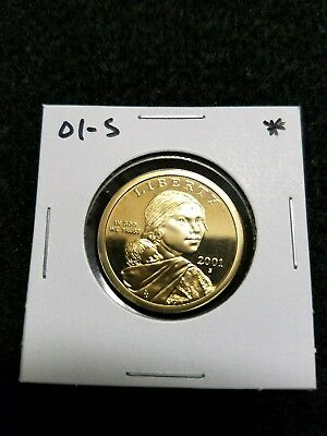 2001-S Us Cameo Proof Sacagawea Golden Dollar, Spot On Front,  From Us Proof Set