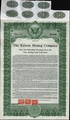 $1000 Kehota Mining Co Bond, 1922, 7 Coupons