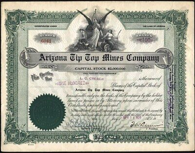 Arizona Tip Top Mines Company, 1920, Uncancelled Stock Certificate