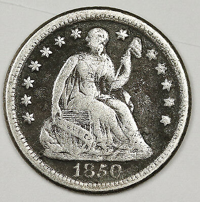 "1850-o Seated Liberty Half Dime.  Small ""o"".  Fine.  99519"