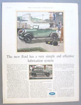 Original 1929 Ford Conbvertible Ad VERY SIMPLE AND EFFECTIVE LUBRICATION SYSTEM
