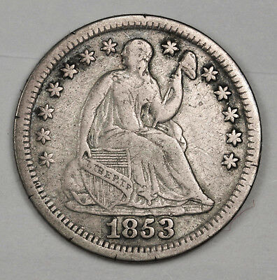 1853 Liberty Seated Half Dime.  No Arrows.  V.F.  118803