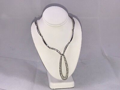 Very Fancy Diamonique & Sterling Silver Dangle Centerpiece Bar Link Necklace