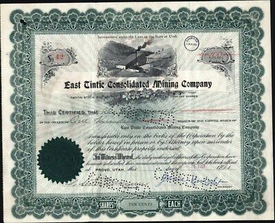 East Tintic Consolidated Mining Co, Provo, Utah, 1907, Stock Certificate