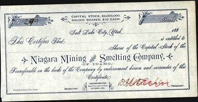 Niagara Mining And Smelting Co Of Idaho, Salt Lake City, U, 1888, Stock Cft.