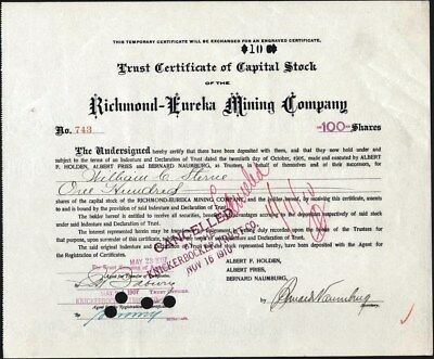Richmond - Eureka Mining Co, Of Utah, 1905 Cft To Be Exchanged For Engraved Cft.