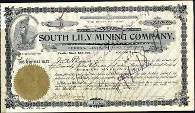 South Lily Mining Co, Slc, Utah, 1899, Mine: Eureka, Tintic Mining Dist.