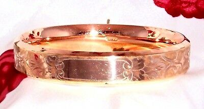Signed W & Sg Victorian Antique Rose Gold Shell Gf Etched Scroll Bangle Bracelet