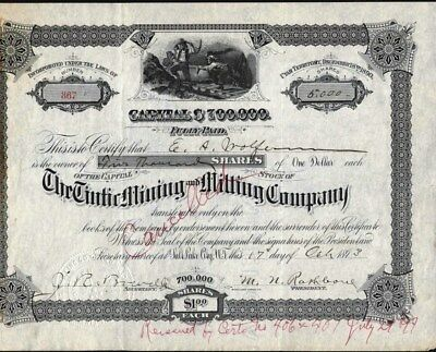 Tintic Mining And Milling Co, Salt Lake City, Utah Territory, 1893 Stock Cft.