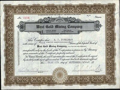 West Gold Mining Co 1927