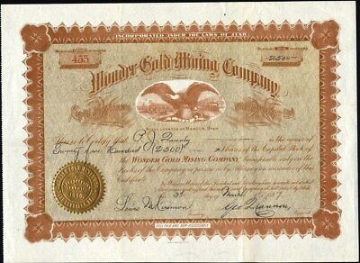 Wonder Gold Mining Co, Of Utah, 1897, Mines At Mercur, Utah Stock Certificate