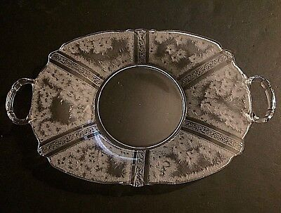 BEAUTIFUL Old ANTIQUE HEISEY GLASS PLATTER SERVING DISH PLATE Frosted Etched
