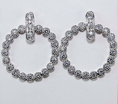 1CT White Sapphire 925 Solid Genuine Sterling Silver Earrings Jewelry