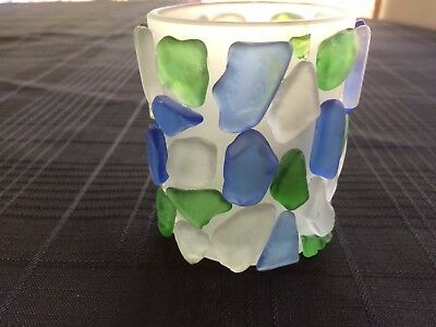 Votive Candle Holder Frosted Glass w/Multi-color Exterior Glass Pieces