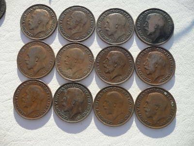 Lot of 12 King George V One Penny Coins of England - pre World War Two