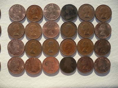 Lot of 24 One Penny Coins of England - mix of reigns