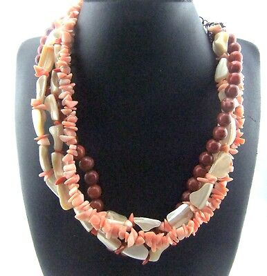 Vintage 4 Strand Faux Coral & Mother-Of-Pearl Nugget Ornate Collar Necklace