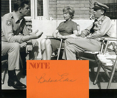 Barbara Eden Played Ellen Brown On Andy Griffith Show Signature & In Role Photo
