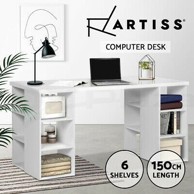 Computer Desk Office Study Table 3 Level 6 Shelf Storage Bookcase Business White