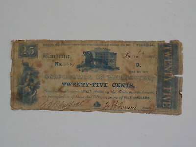 Civil War Confederate 1861 25 Cents Note Corporation Of Winchester Virginia VTG
