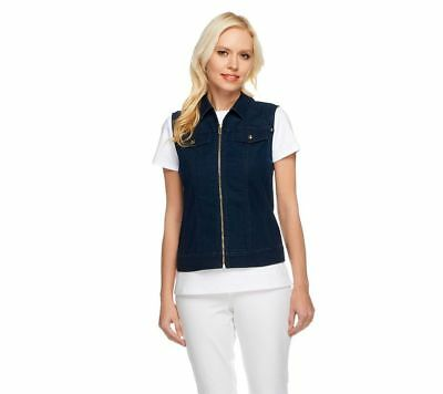 Linea Louis Dell'Olio Exposed Zipper Front Collar Denim Vest Navy XL NEW A252356