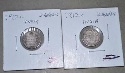 British India - 1910 and 1912 2 Anna Lot of 2 Silver Coins