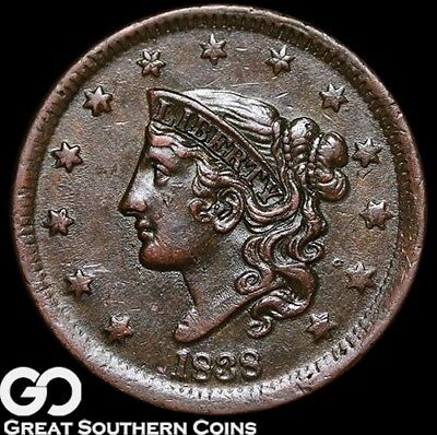 1838 Large Cent, Coronet Head, Choice AU Early Copper!