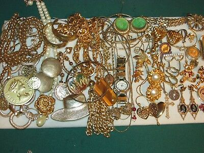 56 Piece Lot Of Vintage To Modern Gold Tone Costume Jewelry, Necklaces, & More!
