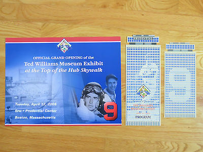 Rare Grand Opening of TED WILLIAMS Museum 2005 Display Program & Ticket RED SOX
