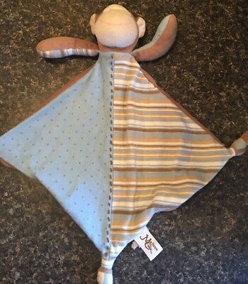 Maison Chic Blue White Polka Dot Striped Brown Knotted Monkey Security Blanket