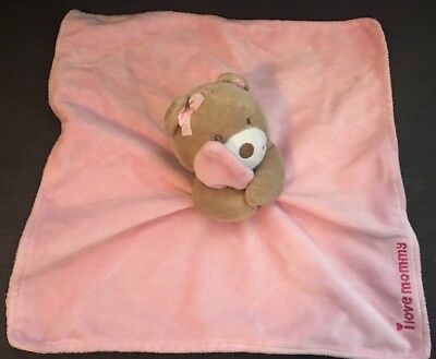 Pink Magic Years I Love Mommy Lovey Security Blanket Plush Bear Rattle 12 X 12""