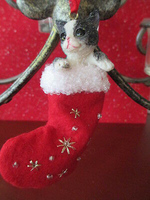 Black & White Cat  ~ Christmas Stocking  Ornament   #3