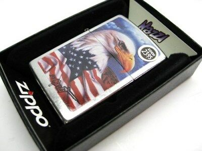 ZIPPO Street Chrome MAZZI American Flag & Eagle Windproof Lighter! 24764