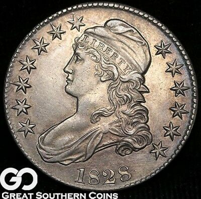 1828 Capped Bust Half Dollar, Solid Choice AU++/Unc Silver Half, NICE! Free S/H!