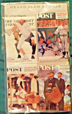 Grand Slam Summer- The Saturday Evening Post- Norman Rockwell 4pc Magnet Set-NIP