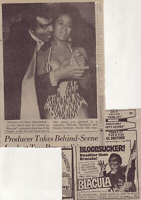 "Two 1973 newspaper ads for movie ""Blacula"" - William Marshall, Denise Nicholas"
