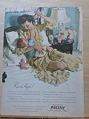 """1946 magazine ad for Pacific Sheets - """"Reach High!"""",baby illustration by Gannam"""
