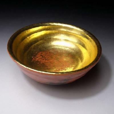 ZO8: Vintage Japanese Tea Bowl, Raku ware, GOLD, Dia. 5.9 inches, Large size