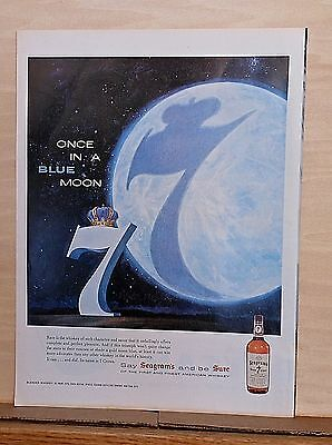 1958 magazine ad for Seagram's Seven - Once in a Blue Moon, giant moon with 7