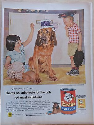 """1955 magazine ad for Friskies Dog Food - Bloodhound plays """"dress up"""" with kids"""