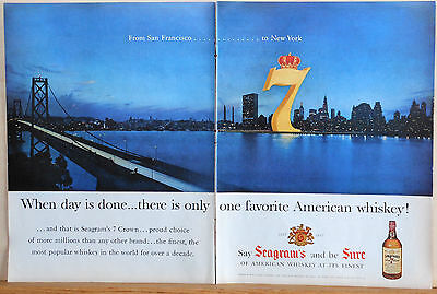 1957 two page magazine ad for Seagram's 7 Whiskey - San Francisco to New York
