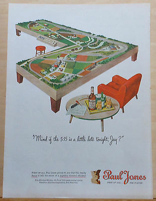 1956 magazine ad for Paul Jones Whiskey - Fancy model train layout illustration