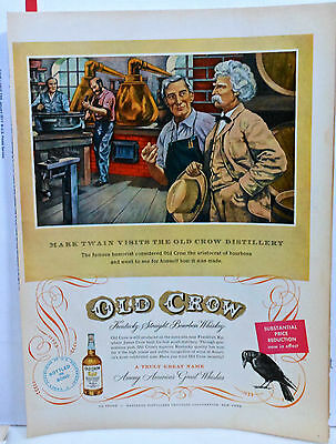 Vintage 1951 magazine ad for Old Crow Whiskey - Mark Twain visits distillery
